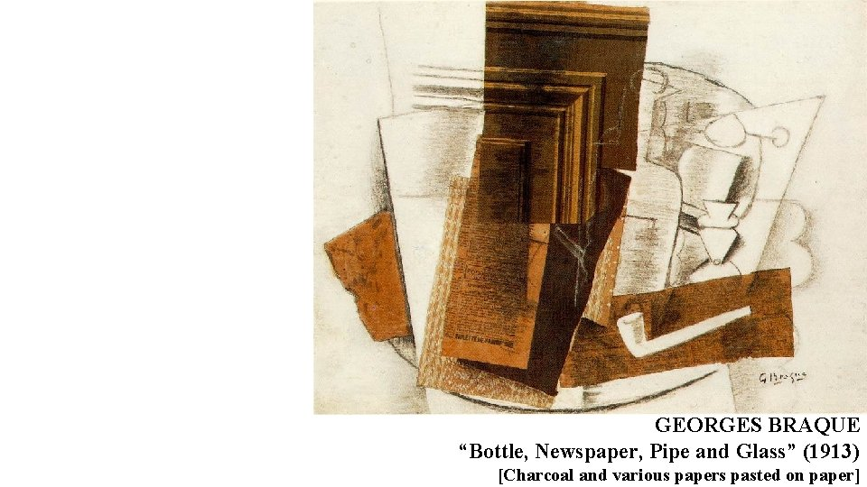 """GEORGES BRAQUE """"Bottle, Newspaper, Pipe and Glass"""" (1913) [Charcoal and various papers pasted on"""