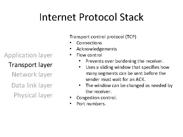 Internet Protocol Stack Application layer Transport layer Network layer Data link layer Physical layer
