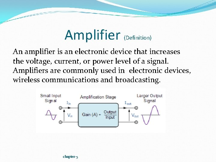 Amplifier (Definition) An amplifier is an electronic device that increases the voltage, current, or