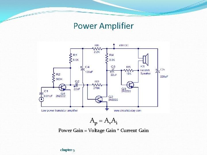 Power Amplifier Ap = Av. Ai Power Gain = Voltage Gain * Current Gain