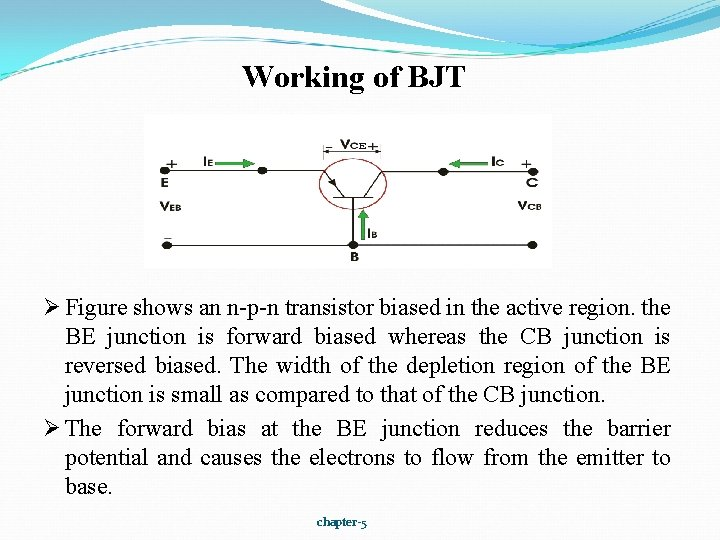 Working of BJT Ø Figure shows an n-p-n transistor biased in the active region.