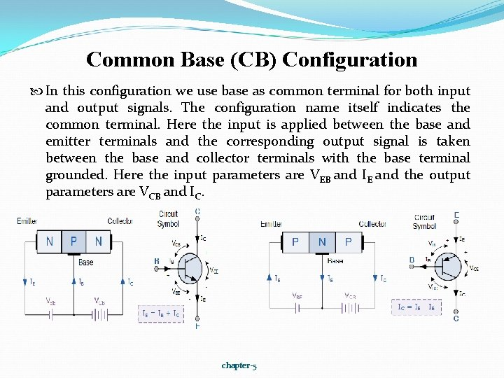 Common Base (CB) Configuration In this configuration we use base as common terminal for