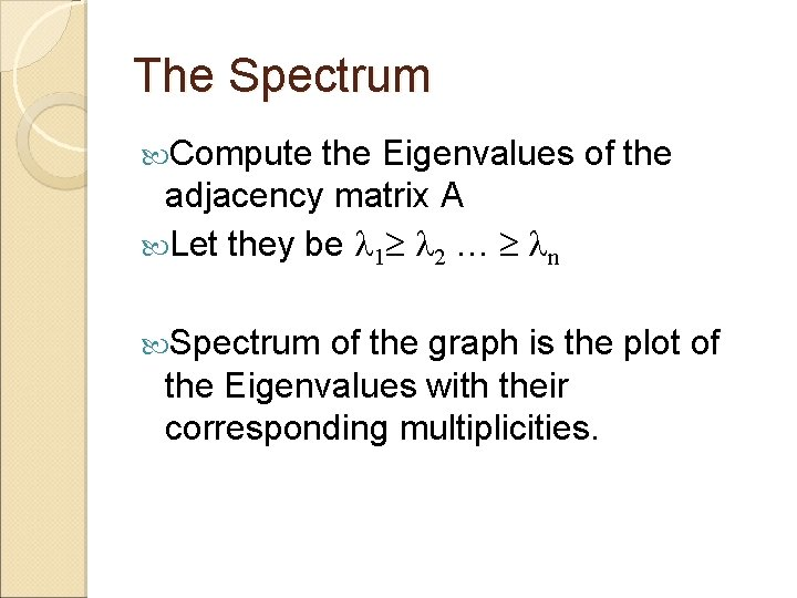 The Spectrum Compute the Eigenvalues of the adjacency matrix A Let they be 1