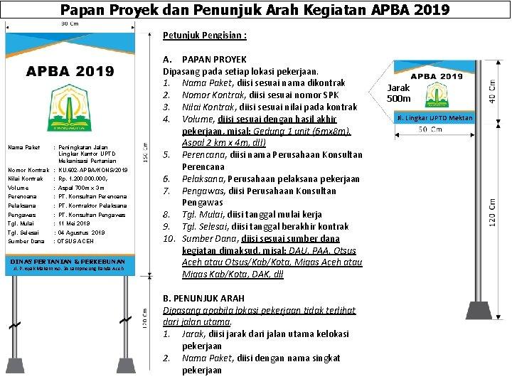 Papan Proyek dan Penunjuk Arah Kegiatan APBA 2019 Petunjuk Pengisian : Nama Paket :