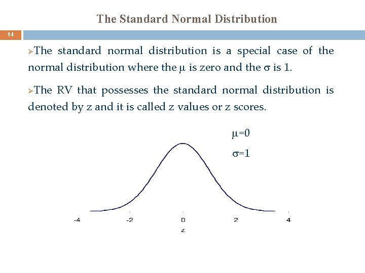 The Standard Normal Distribution 14 The standard normal distribution is a special case of