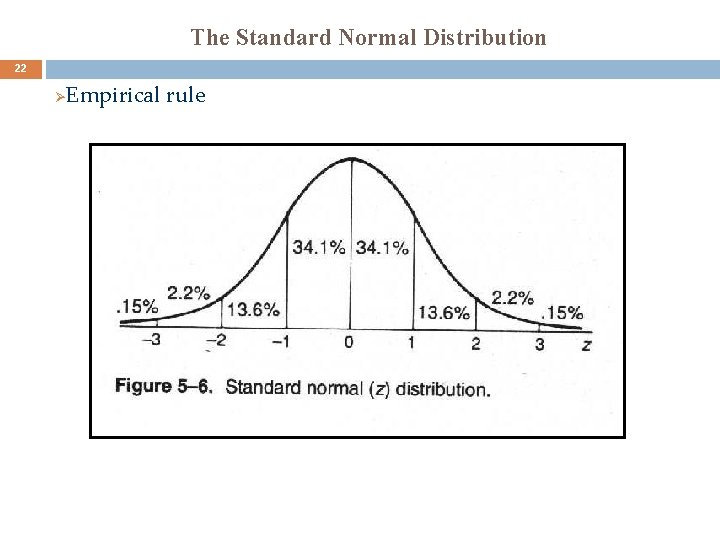 The Standard Normal Distribution 22 Ø Empirical rule