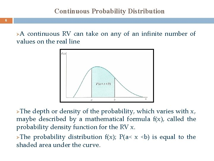 Continuous Probability Distribution 6 A continuous RV can take on any of an infinite