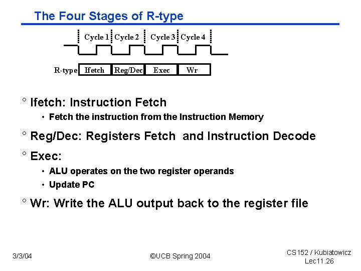 The Four Stages of R type Cycle 1 Cycle 2 R-type Ifetch Reg/Dec Cycle