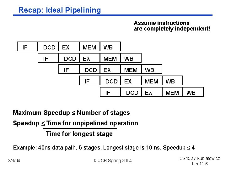 Recap: Ideal Pipelining Assume instructions are completely independent! IF DCD IF EX DCD IF