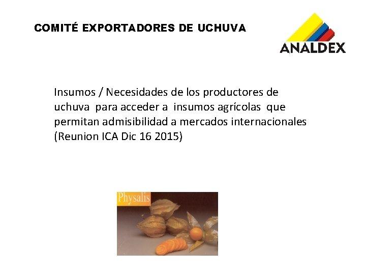 COMITÉ EXPORTADORES DE UCHUVA Insumos / Necesidades de los productores de uchuva para acceder