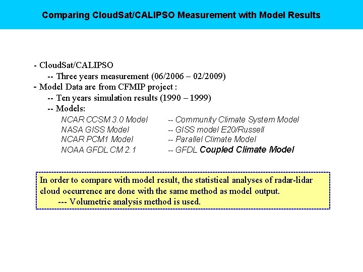 Comparing Cloud. Sat/CALIPSO Measurement with Model Results - Cloud. Sat/CALIPSO -- Three years measurement
