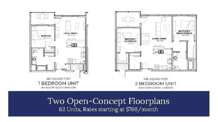 Two Open-Concept Floorplans 62 Units, Rates starting at $769/month