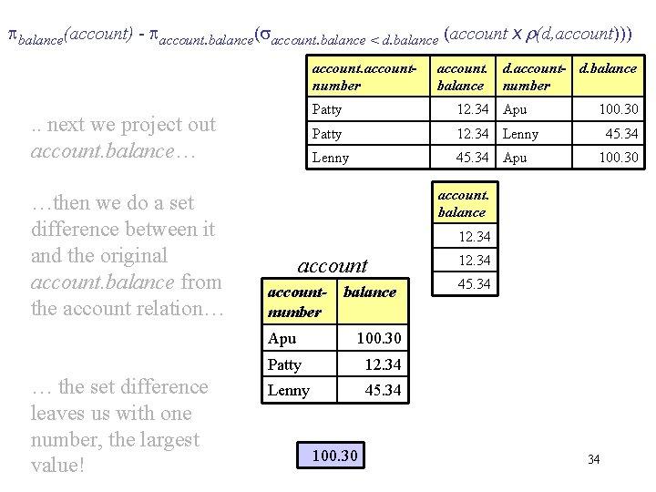 balance(account) - account. balance( account. balance < d. balance (account x r(d, account)))