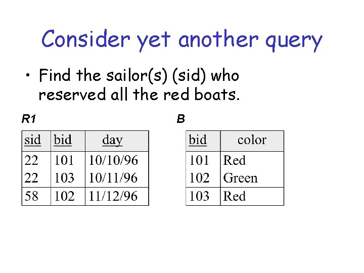 Consider yet another query • Find the sailor(s) (sid) who reserved all the red