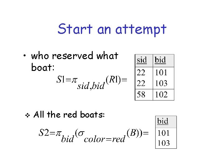Start an attempt • who reserved what boat: v All the red boats:
