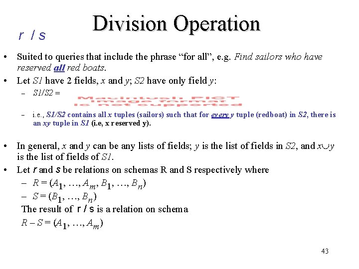 """r /s Division Operation • Suited to queries that include the phrase """"for all"""","""
