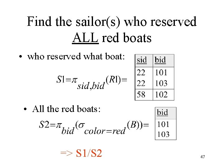 Find the sailor(s) who reserved ALL red boats • who reserved what boat: •