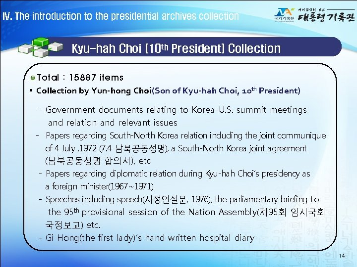 IV. The introduction to the presidential archives collection Kyu-hah Choi (10 th President) Collection