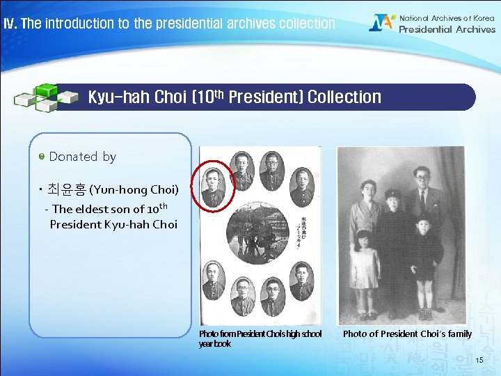 National Archives of Korea IV. The introduction to the presidential archives collection Presidential Archives