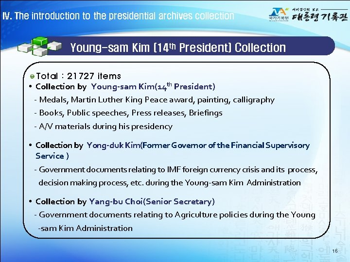 IV. The introduction to the presidential archives collection Young-sam Kim (14 th President) Collection