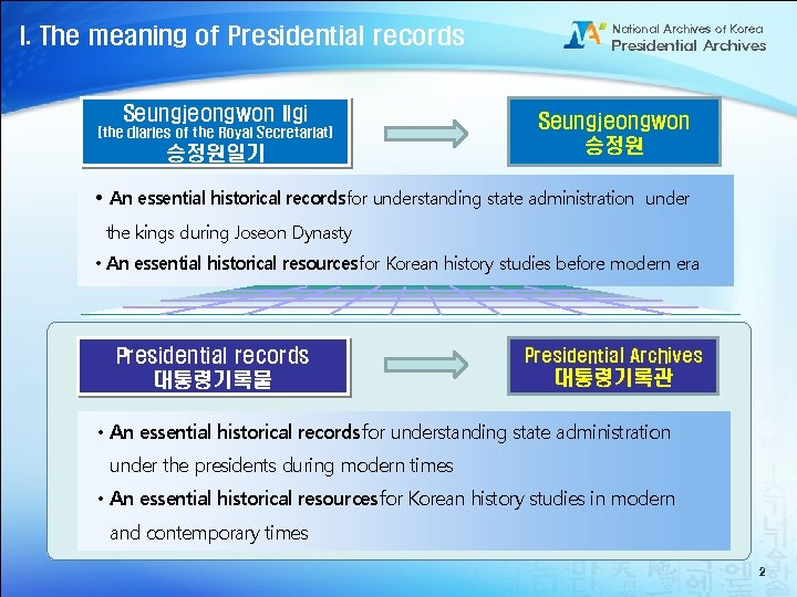I. The meaning of Presidential records Seungjeongwon Ilgi (the diaries of the Royal Secretariat)