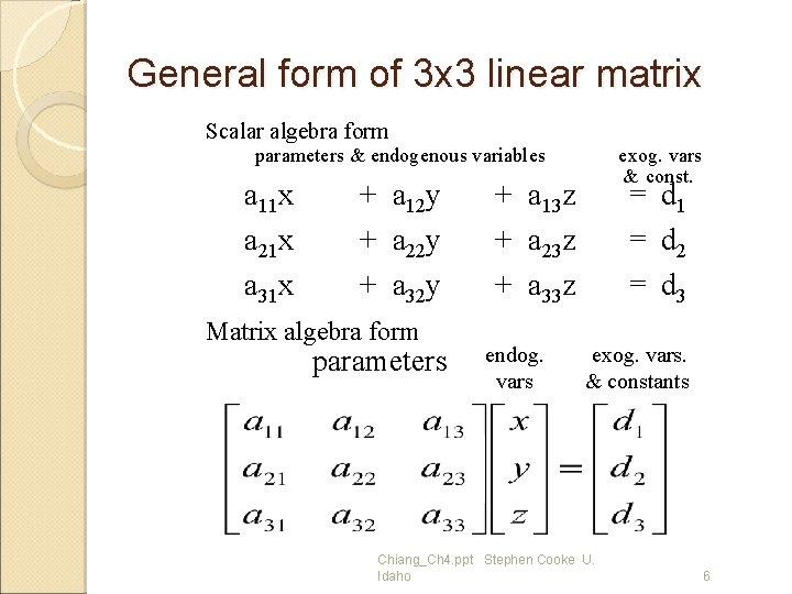 General form of 3 x 3 linear matrix Scalar algebra form parameters & endogenous
