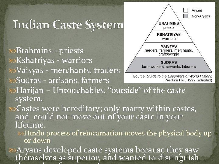 Indian Caste System Brahmins - priests Kshatriyas - warriors Vaisyas - merchants, traders Sudras