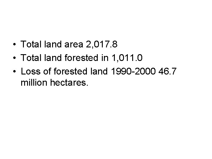 • Total land area 2, 017. 8 • Total land forested in 1,