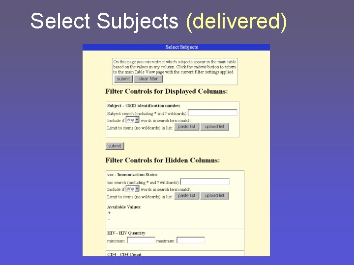 Select Subjects (delivered)