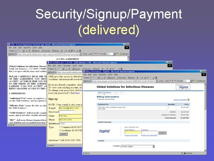 Security/Signup/Payment (delivered)