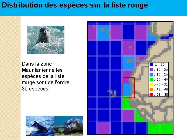 Distribution des espèces sur la liste rouge Dans la zone Mauritanienne les espèces de