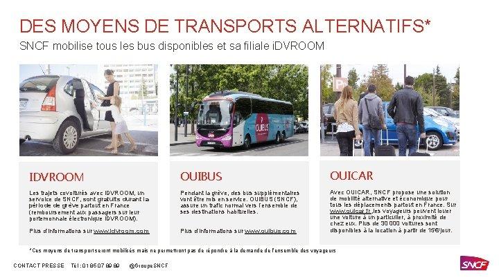 DES MOYENS DE TRANSPORTS ALTERNATIFS* SNCF mobilise tous les bus disponibles et sa filiale