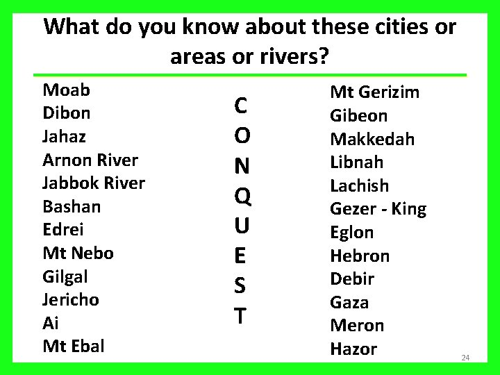 What do you know about these cities or areas or rivers? Moab Dibon Jahaz