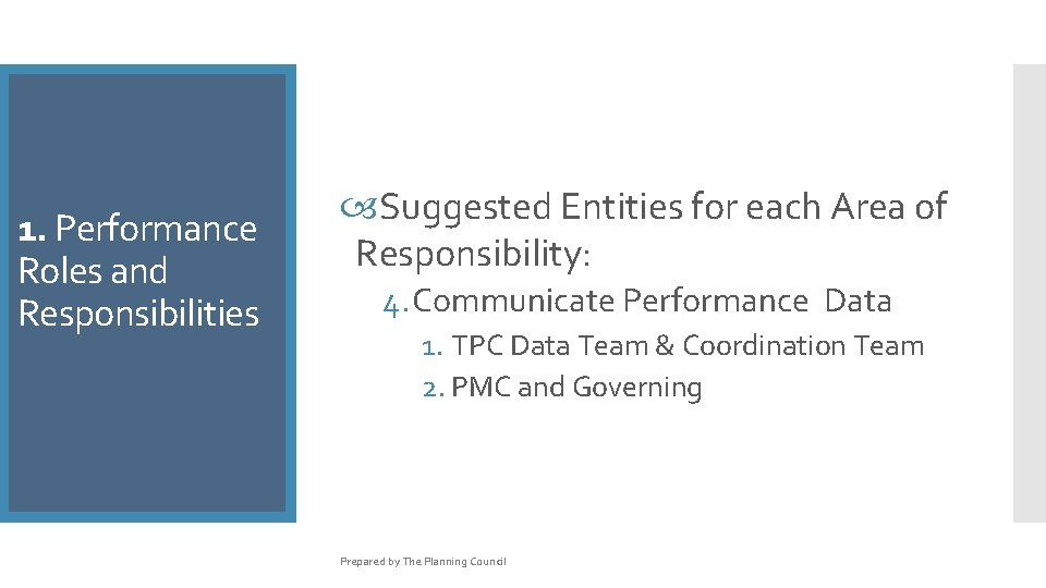 1. Performance Roles and Responsibilities Suggested Entities for each Area of Responsibility: 4. Communicate