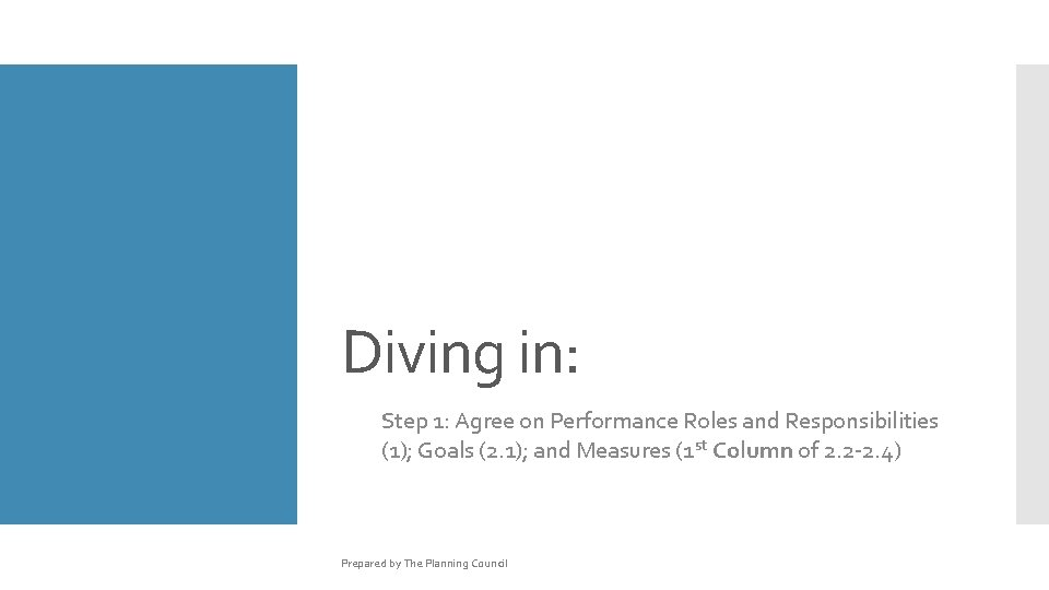 Diving in: Step 1: Agree on Performance Roles and Responsibilities (1); Goals (2. 1);