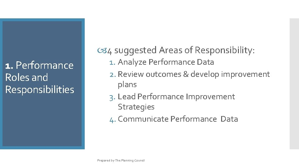 4 suggested Areas of Responsibility: 1. Performance Roles and Responsibilities 1. Analyze Performance