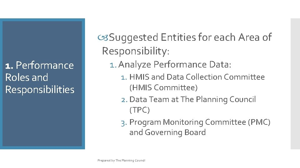 Suggested Entities for each Area of Responsibility: 1. Performance Roles and Responsibilities 1.