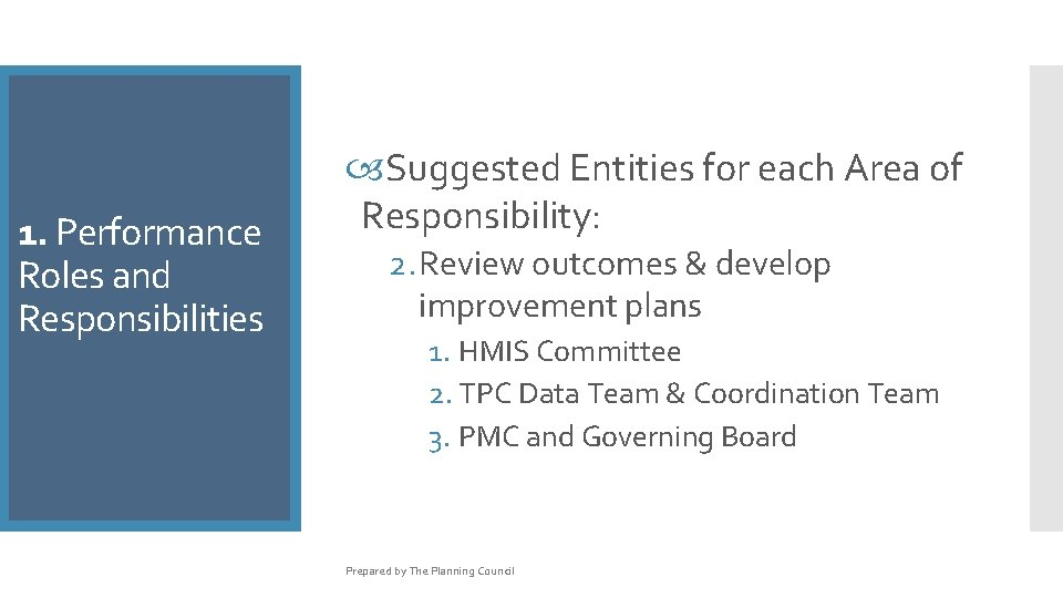 1. Performance Roles and Responsibilities Suggested Entities for each Area of Responsibility: 2. Review