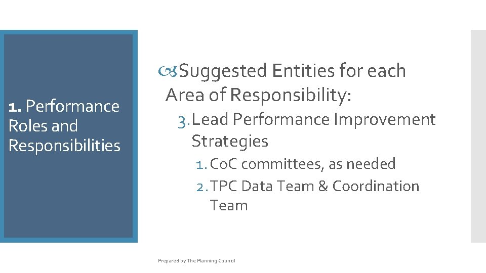 1. 1. Performance Rolesand Responsibilities Suggested Entities for each Area of Responsibility: 3. Lead
