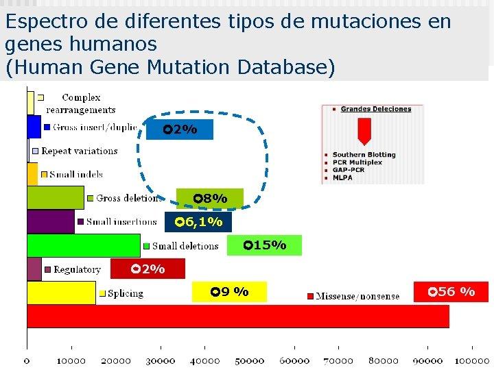 Espectro de diferentes tipos de mutaciones en genes humanos (Human Gene Mutation Database) 2%