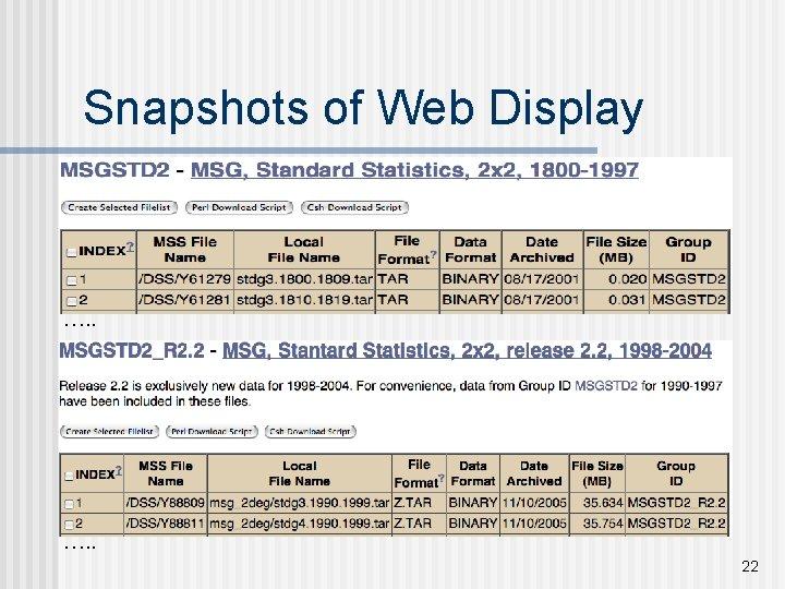 Snapshots of Web Display …. . 22