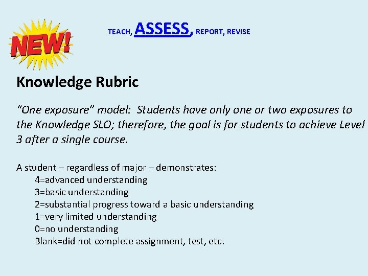 """TEACH, ASSESS, REPORT, REVISE Knowledge Rubric """"One exposure"""" model: Students have only one or"""
