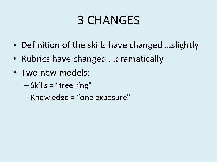 3 CHANGES • Definition of the skills have changed …slightly • Rubrics have changed
