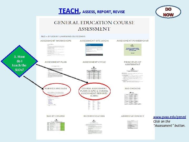 TEACH, ASSESS, REPORT, REVISE DO NOW 3. How do I teach the SLOs? www.