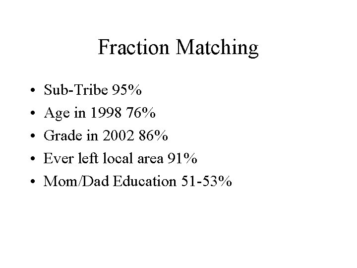 Fraction Matching • • • Sub-Tribe 95% Age in 1998 76% Grade in 2002