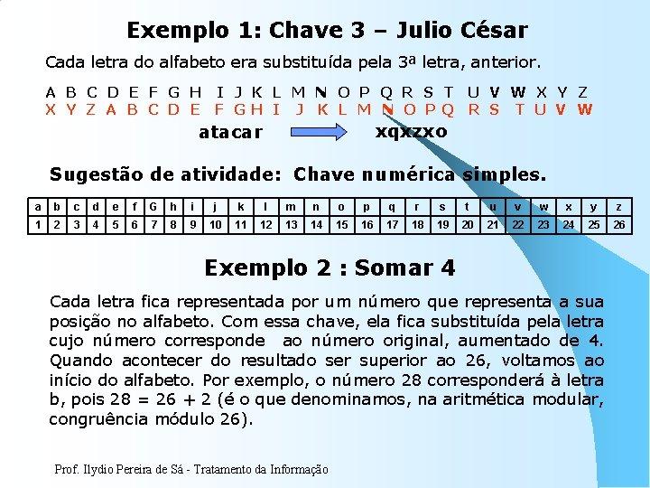 Exemplo 1: Chave 3 – Julio César Cada letra do alfabeto era substituída pela