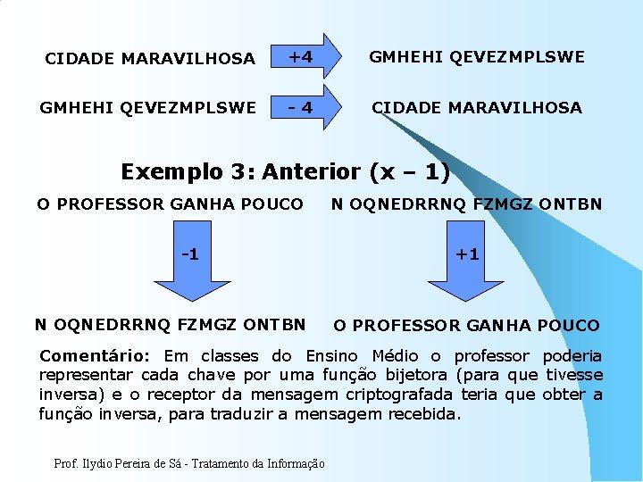 CIDADE MARAVILHOSA +4 GMHEHI QEVEZMPLSWE -4 CIDADE MARAVILHOSA Exemplo 3: Anterior (x – 1)