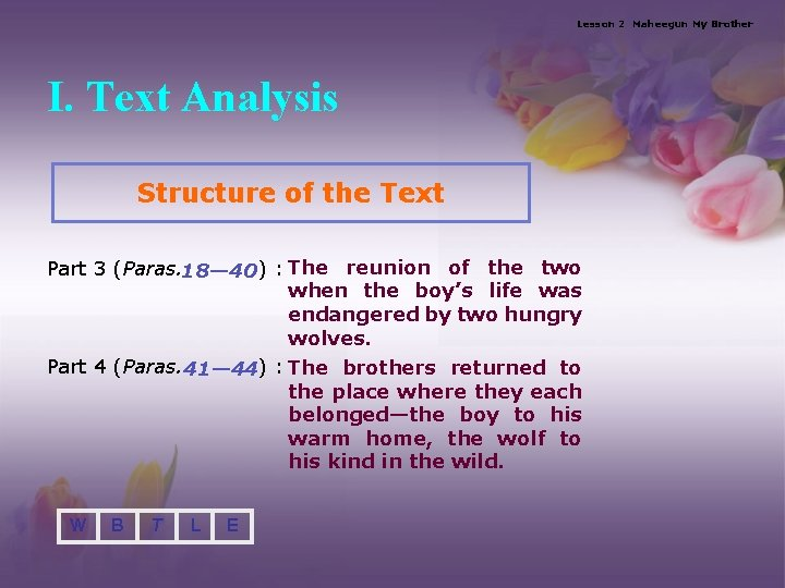 Lesson 2 Maheegun My Brother I. Text Analysis Structure of the Text Part 3
