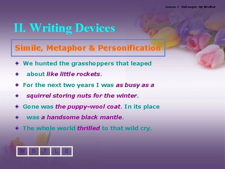 Lesson 2 Maheegun My Brother II. Writing Devices Simile, Metaphor & Personification We hunted