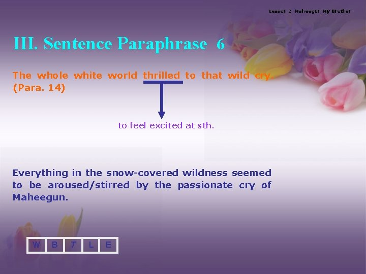 Lesson 2 Maheegun My Brother III. Sentence Paraphrase 6 The whole white world thrilled